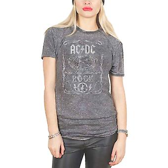 AC/DC T Shirt For those about to Rock Official Womens Charcoal Grey Burn Out