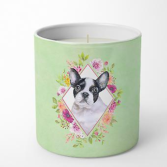 French Bulldog Green Flowers 10 oz Decorative Soy Candle