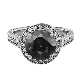 2,60 CTW 14K White Gold Black Diamond Ring met diamanten Halo filigraan met accenten