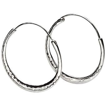 Beginnings Hammered Hoop Earrings - Silver