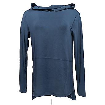Anybody Women's Top Plush Terry Hooded Pullover Navy Blue A372107