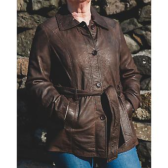 Nordvek Womens Leather Coat - Classic Style Tie Front Jacket # 715-100