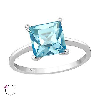 Square Crystal From Swarovski® - 925 Sterling Silver Rings - W39224x