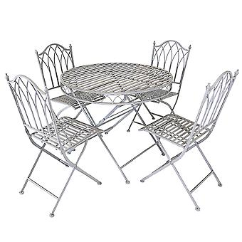 Charles Bentley Rustic 5 Piece Wrought Iron Outdoor Patio Bistro Set Seats 4 People, Foldable and Lightweight - Grey