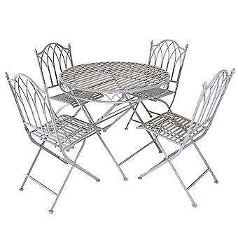 Charles Bentley rustikale 5 Stück Schmiedeeisen Outdoor Patio Bistro Set Sitze 4 Personen, faltbar und leicht - grau