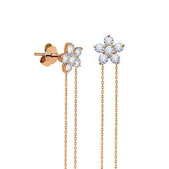 Náušnice víla kvetina visí 18K zlato a diamanty
