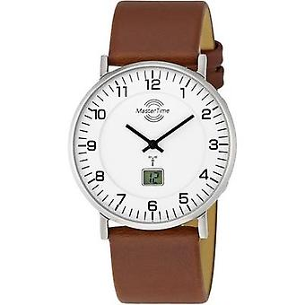 Radio Wristwatch MTGS-10561-12L (Ø x H) 42 mm x 10.1 mm Silver Enclosure material=Stainless steel Material (watch strap)=Leather