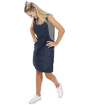 Short denim pinafore sleeveless jean dress - vintage wash