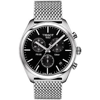 Tissot Watches T101.417.11.051.01 Pr100 Silver Stainless Steel Mesh And Black Chronograph Men's Watch