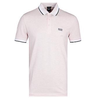 Boss Paddy Tipped Pink Polo Shirt