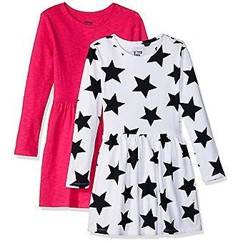 Brand - Spotted Zebra Big Girls' Knit Long-Sleeve Play Dress, Star/Pin...