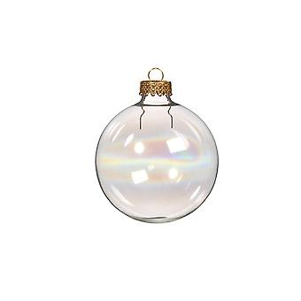 6 Fillable 70mm Iridescent Glass Ball Christmas Ornaments for Tree Decoration