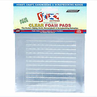 144 Clear Craft Foam Sticky Pads - 7mm x 7mm x 1mm | Craft Adhesives