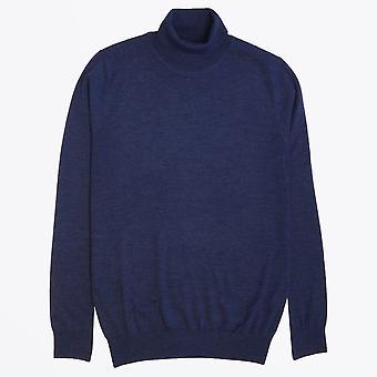 Thomas Maine - Mérinos Roll-neck Knit - Bleu