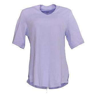 Isaac Mizrahi Live! Women's Top V-Neck Elbow Sleeve Purple A289635
