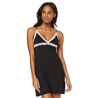Iris & Lilly Women's Modal Spaghetti Nightgown with Lace, (Noir), EU M (US 8)