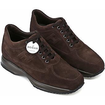 Hogan Men's fashion round toe high sneakers shoes em couro de camurça marrom
