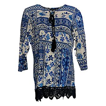 Susan Graver Women's Top Weekend Printed Tunic w/ Lace Hem Blue A350155
