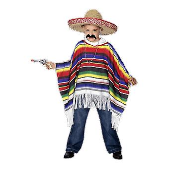 Kids Mexican Rainbow Poncho Fancy Dress Costume