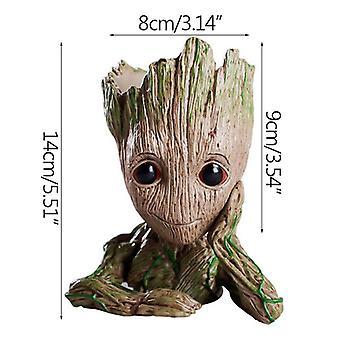 Flower Pot Baby Groot Big Söt Toy Penna Innehavaren PVC Hjälte Modell Träd Man Trädgård