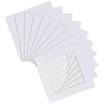 """Nicola Spring 20pc Picture Photo Mounts Set - To Fit Frame Size 8 x 8"""" for Image Size 6 x 6"""" - White"""