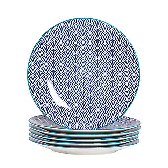 Nicola Spring 6 Piece Geometric Patterned Dinner Plate Set - Large Porcelain Dining Plates - Navy Blue - 26.5cm