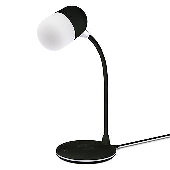 Apollo LED Lamp with Built-In Wireless Charger & Bluetooth Speaker Black GVWC02B
