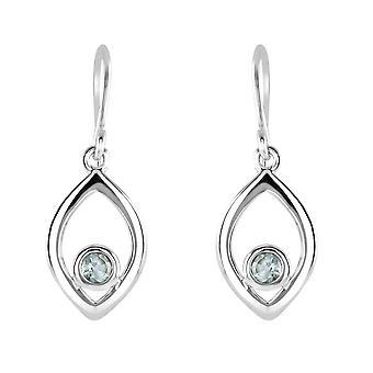 Dew Sterling Silver Open Marquise Blue Topaz Drop Earrings 5706BT