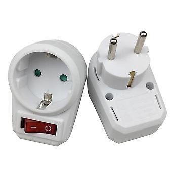 1pcs European Type Conversion Plug 1 To 1 Way Power Adapter Plug Adaptor With Switch 16a Ac 250v Eu Travel Plug Socket Eu Plug (eu Plug)