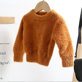 الفتيات المنك الكشمير سترة pullovers- معطف الطائر الدافئ