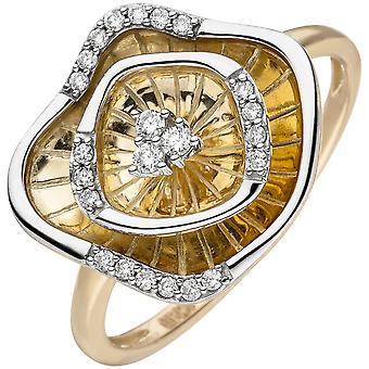 Naisten rengas 585 kulta keltainen kulta bicolor 23 timantit loistava