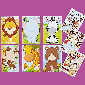 Children Puzzle Games Make-a-face Princess Animal Dinosaur Sticker Assemble