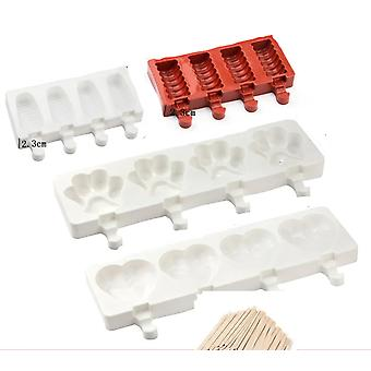 Ice Cream Silicone Mold Popsicle Makers - Dessert Form With Wooden Sticks