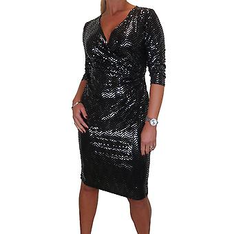 Women's Shiny Sequin Effect Bodycon Dress V Neck Ruched Waist Evening Party Black 10-12