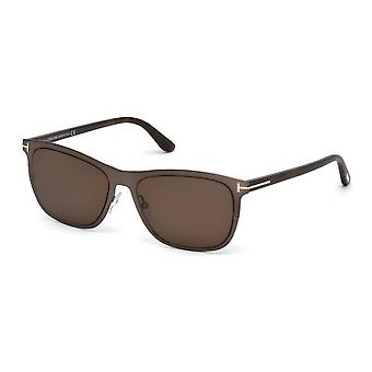 Tom Ford Alasdhair TF526 48J Shiny Dark Brown/Brown Sunglasses