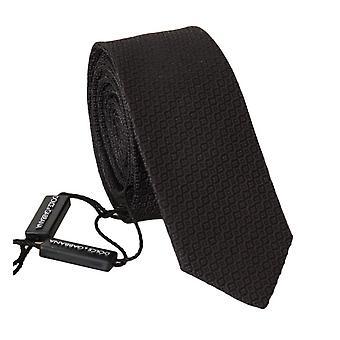 Cravată subțire cu model gri de mătase