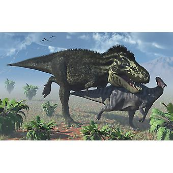 Tyrannosaurus Rex hunting a lone Parasaurolophus duckbill dinosaur Poster Print