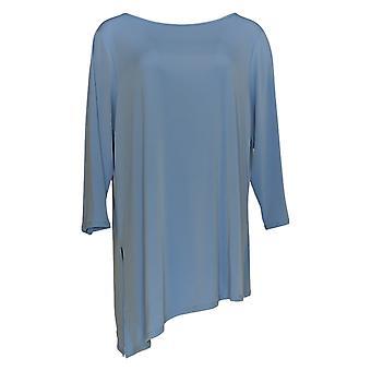 Susan Graver Kvinder's Top 3/4 Sleeve Scoop Neck Blue A263009