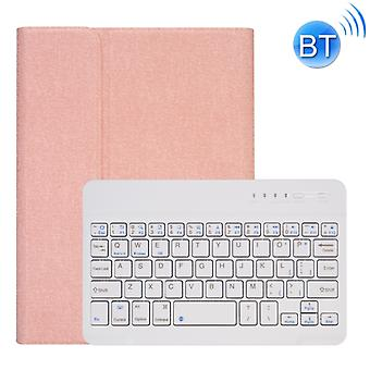 RK405 For iPad mini 5 / 4 Silk Texture Detachable Plastic Bluetooth Keyboard Leather Cover with Pen Slot & Stand Function(Rose Gold)