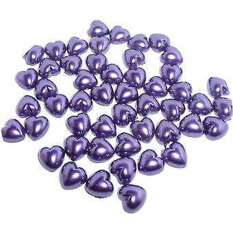 Purple Pearl Heart Shape Beads Flat Backed. Pack of 50 Beads