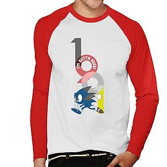 Sonic The Hedgehog Im Outta Here Men's Baseball Long Sleeved T-Shirt