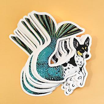 Mermaid Dog Vinyl Sticker - Rat Terrier