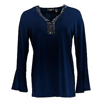 Susan Graver Women's Top Artisan Liquid Knit w/ Bell Sleeves Blue A367219