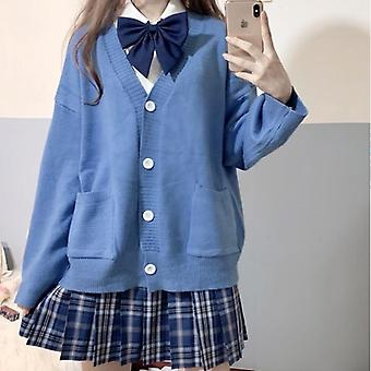 Spring/autumn 100% V-neck Cotton Knitted Sweater Jk Uniforms For Student