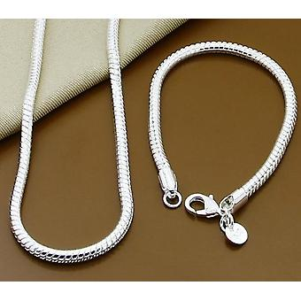 Silver Solid Snake Chain Bracelet Necklace Men