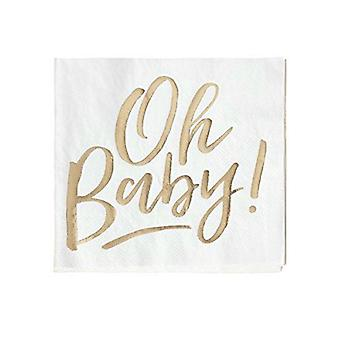 Gold Foiled OH BABY! Baby Shower Paper Party Napkins x 16