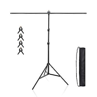 Utebit photographie t stand 5x7ft kit alliage d'aluminium 3 sections réglables 2m fond de fond stand + 1,5m t