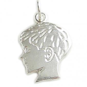 Boy Sterling Silver Charm .925 X 1 Boys Profile Charms Pendants - 6023