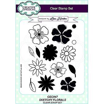 Kreative Ausdrücke Skizzen florala A5 clear Stamp Set