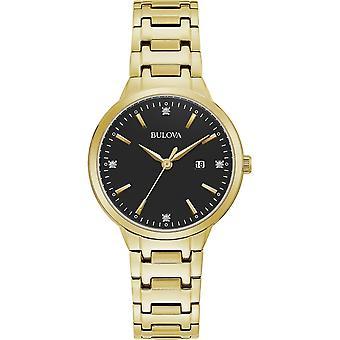 ブローバ 97P147 女性&アポ;s ダイヤモンドダイヤルゴールドトーンスチールブレスレット腕時計